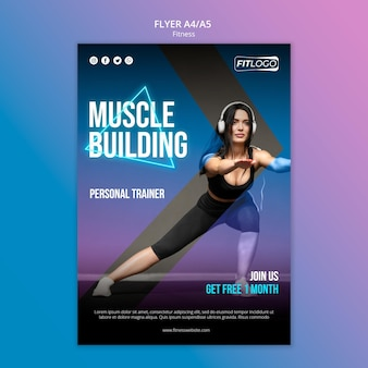 Modello di volantino di istruttore di fitness