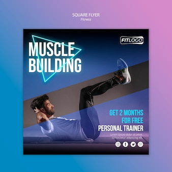 Fitness trainer square flyer template