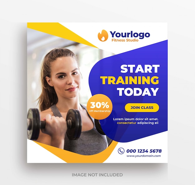 Фитнес-тренинг баннер instagram пост или квадратный флаер шаблон