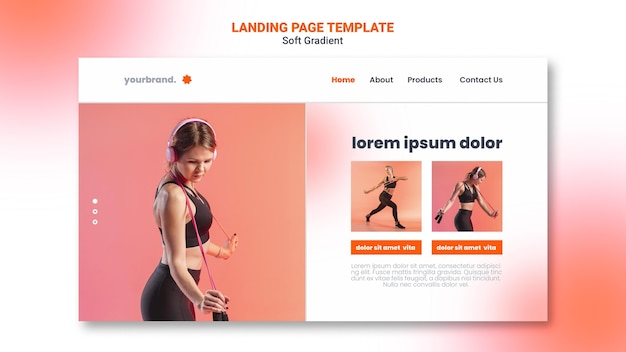 Fitness woman landing page template
