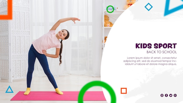 Fitness young girl exercising for back to school