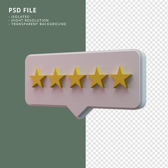 Пять рейтинговых звезд значок 3d-рендеринга