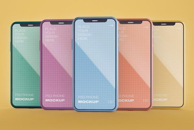 5つのスマートフォンのモックアップ