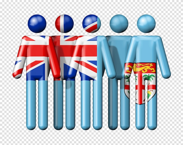 Flag of fiji on stick figure of national and social community symbol 3d icon