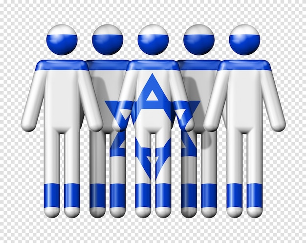 Flag of israel on human figures