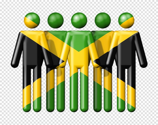 Flag of jamaica on human figures