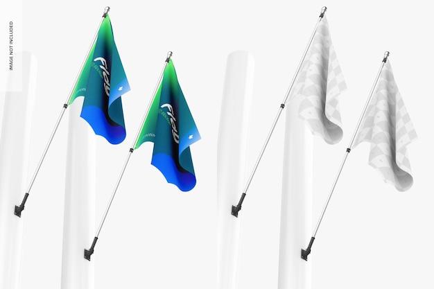 旗のモックアップ、ローアングルビュー