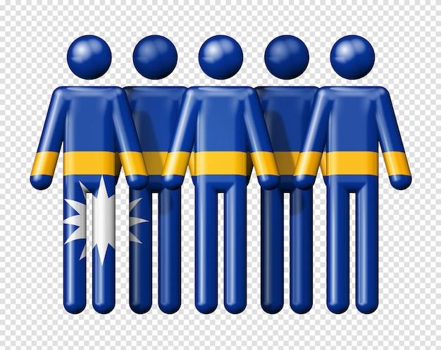 Flag of nauru on stick figures