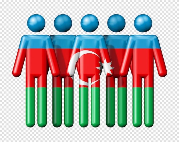 스틱 그림에 아제르바이잔의 국기