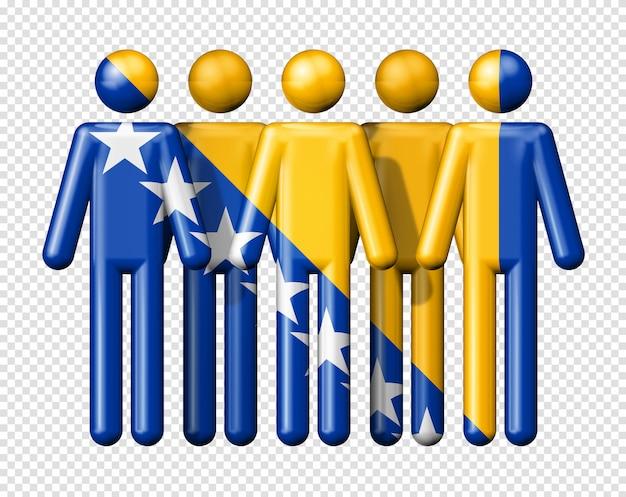 막대기 그림에 보스니아 헤르체고비나의 국기