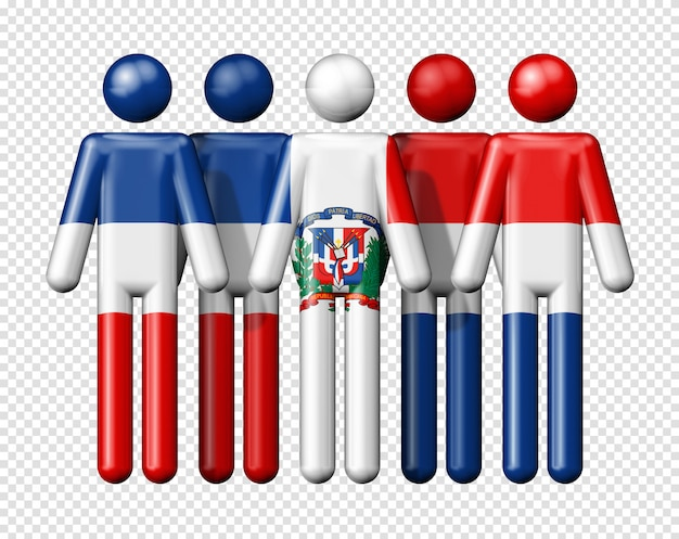 막대기에 도미니카 공화국의 국기
