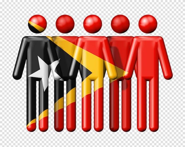 막대기에 동 티모르의 국기