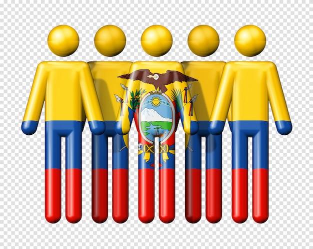 막대기에 에콰도르의 국기