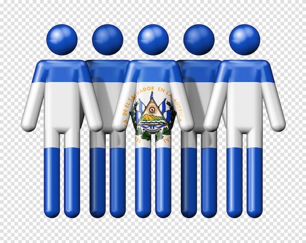 スティック図の国民と社会のコミュニティシンボル3dアイコンにエルサルバドルの旗