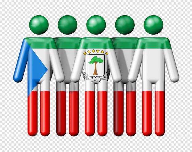 スティック図国と社会のコミュニティシンボル3dアイコンに赤道ギニアの旗