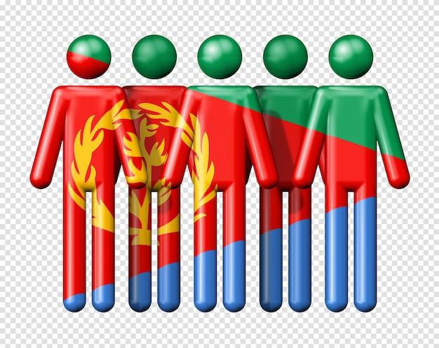 スティック図国民および社会的なコミュニティシンボル3 dアイコンにエリトリアの旗