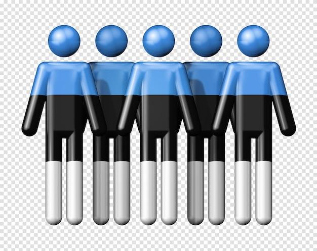 スティック図エストニアの旗国家および社会のコミュニティシンボル3dアイコン