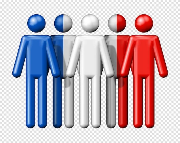 国民および社会のコミュニティシンボル3 dアイコンのスティック図にフランスの旗