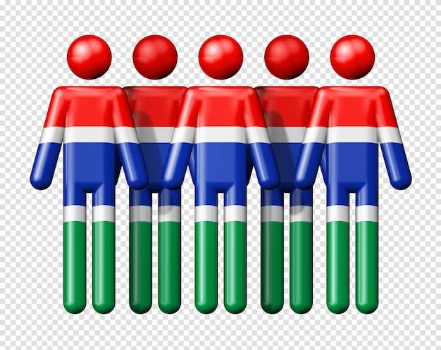 Флаг гамбии на фигурке символа 3d значка национального и социального сообщества