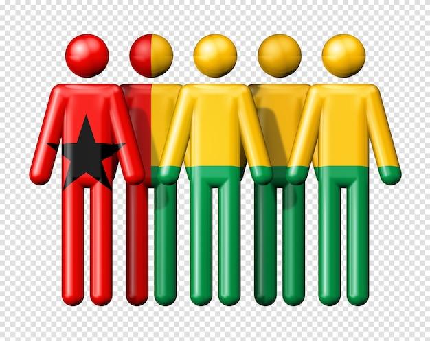 Флаг гвинеи-бисау на человеческих фигурах