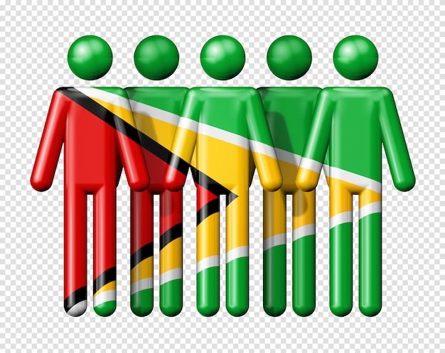 스틱 그림에 가이아나의 국기