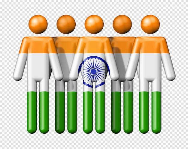 스틱 그림에 인도의 국기