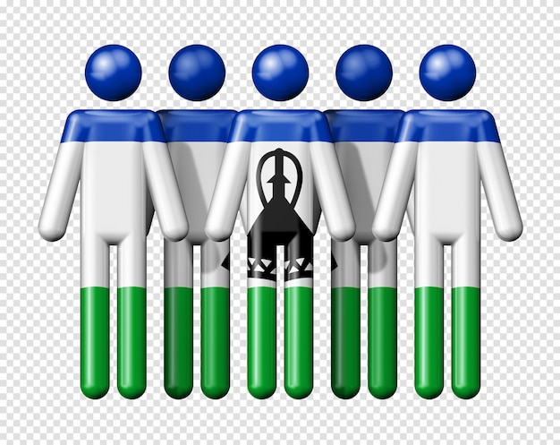 스틱 그림 국가 및 사회 공동체 3d 기호에 레소토의 국기