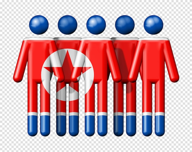막대기에 북한의 국기