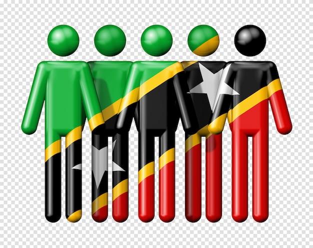 스틱 그림 국가 및 사회 공동체 3d 기호에 세인트 키츠 네비스의 국기