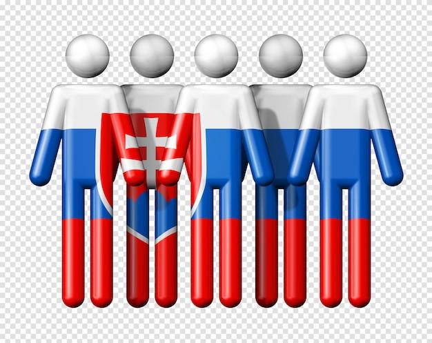 Флаг словакии на фигурке символа 3d значка национального и социального сообщества