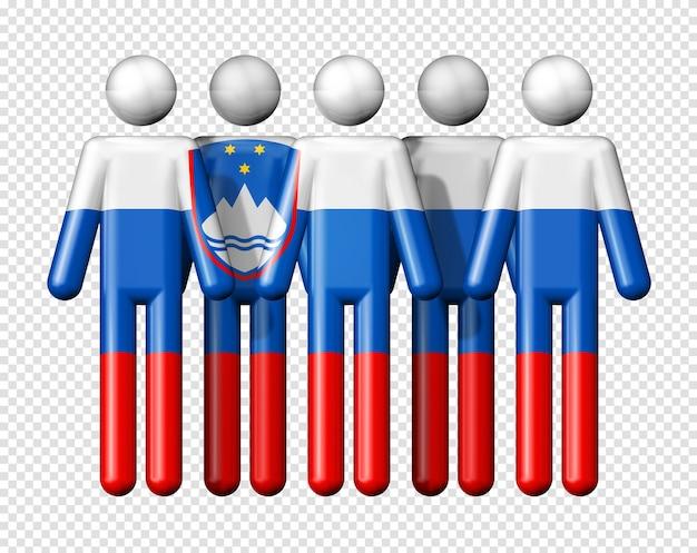 Флаг словении на фигурке символа 3d значка национального и социального сообщества