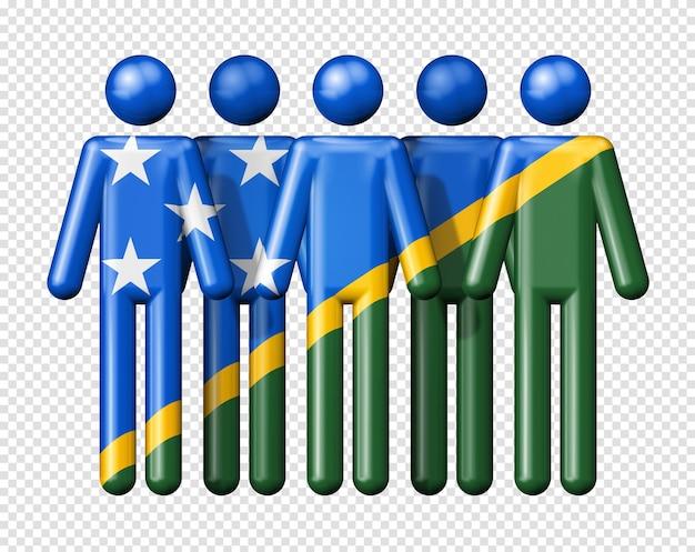 Флаг соломоновых островов на фигурке символа 3d значка национального и социального сообщества