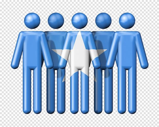 Флаг сомали на фигурке символа 3d символа национального и социального сообщества