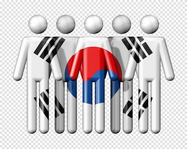スティック図国民および社会的なコミュニティシンボル3 dアイコンに韓国の旗