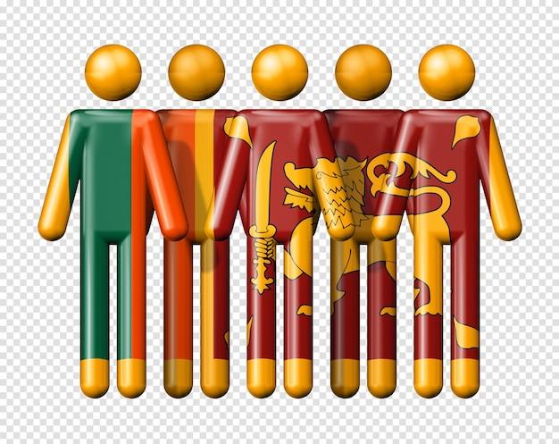スティック図スリランカの旗国家および社会のコミュニティシンボル3 dアイコン