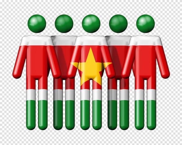 スティック図国民および社会的なコミュニティシンボル3 dアイコンにスリナムの旗