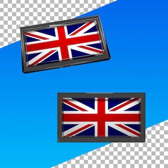 ガラスフレームとイギリスの3dの旗
