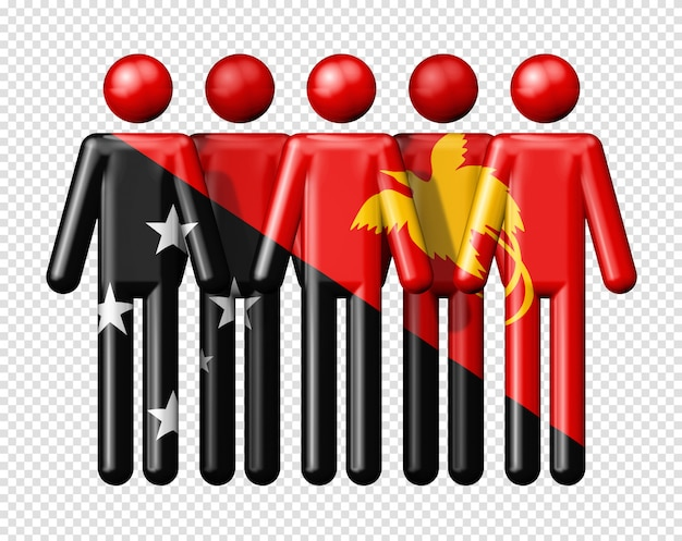 Flag of papua new guinea on stick figures