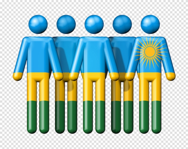 Flag of rwanda on stick figure national and social community 3d symbol