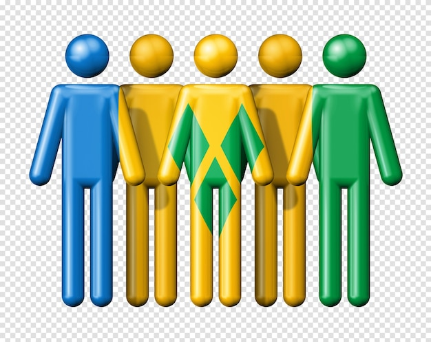 Flag of saint vincent and the grenadines on stick figure national and social community 3d symbol