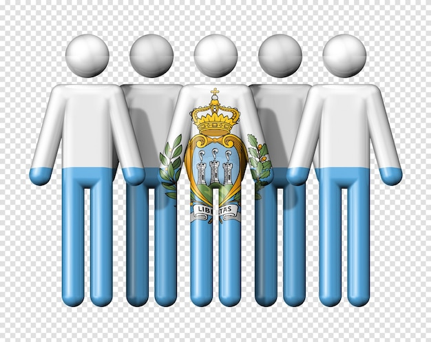 Flag of san marino on stick figure national and social community 3d symbol