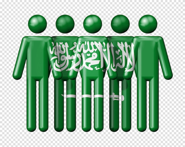 Flag of saudi arabia on stick figure national and social community 3d symbol