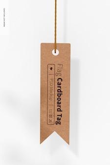 Flag shaped cardboard tag mockup, hanging