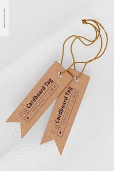 Flag shaped cardboard tags mockup