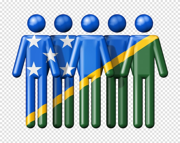Flag of solomon islands on stick figure of national and social community symbol 3d icon