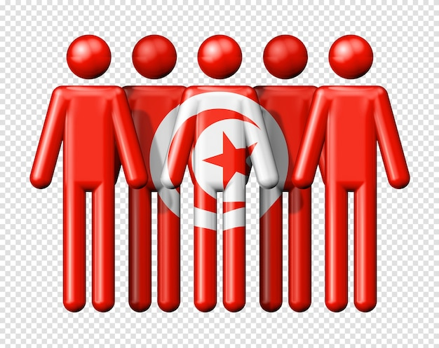 Flag of tunisia on stick figure