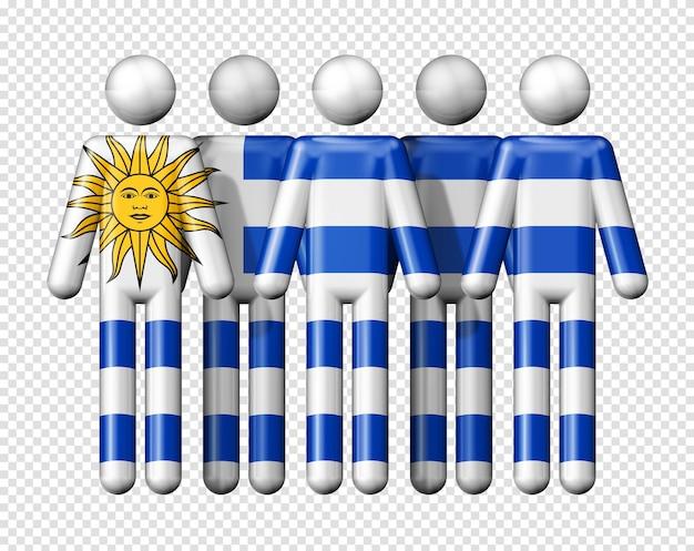 Flag of uruguay on stick figure