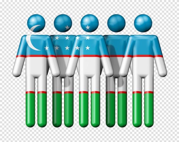 Flag of uzbekistan on stick figure