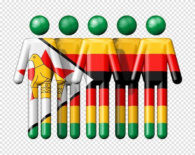 Flag of zimbabwe on stick figure