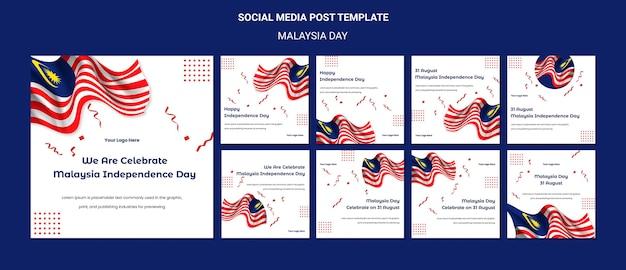 Bandiere del post sui social media del giorno dell'indipendenza della malesia